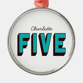 Bright Blue Funky Five Ornament