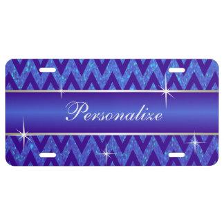 Bright Blue Glitter Chevron Print | Personalize License Plate