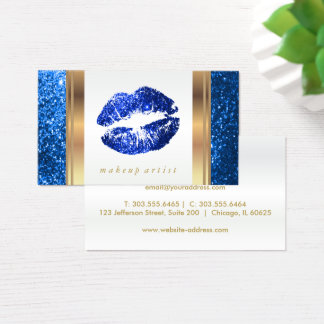 Bright Blue Glitter Lips and Elegant Gold 2 Business Card