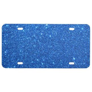 Bright Blue Glitter Sparkles License Plate