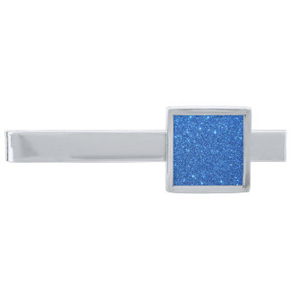 Bright Blue Glitter Sparkles Silver Finish Tie Bar