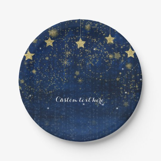 Bright Blue & Gold Starry Celestial Party 7 Inch Paper Plate