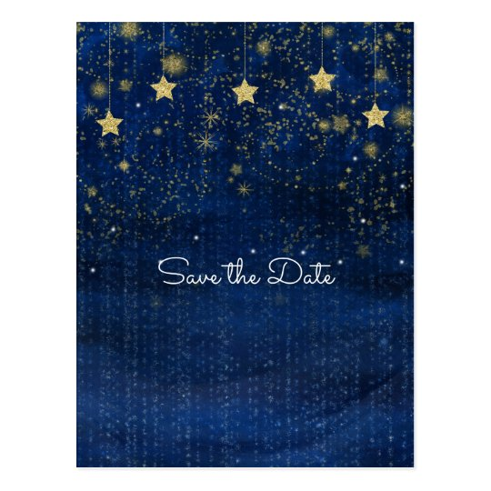 Bright Blue & Gold Starry Celestial Save the Date Postcard