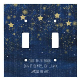Bright Blue & Gold Starry Celestial Whimsical Light Switch Cover