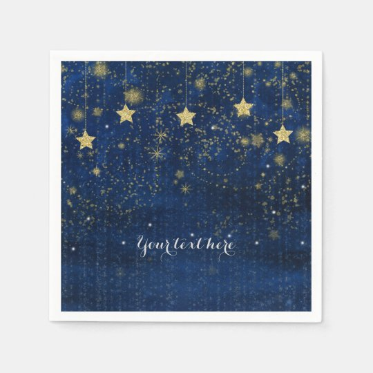 Bright Blue Gold Starry Celestial Whimsical Party Paper Napkins