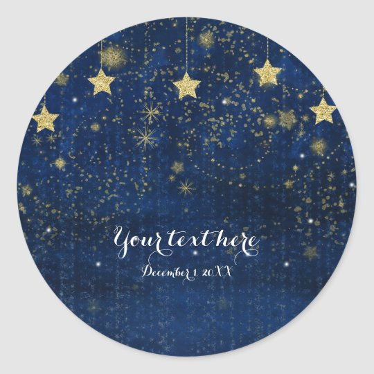 Bright Blue & Gold Starry Night Celestial Favour Classic Round Sticker