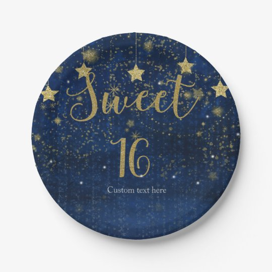 Bright Blue & Gold Starry Sweet 16 Party 7 Inch Paper Plate