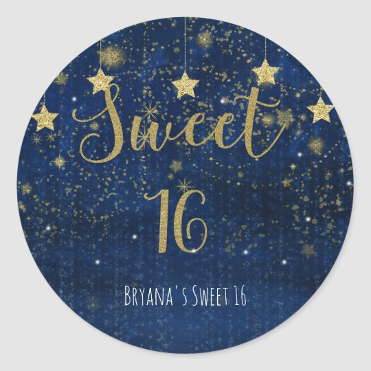 Bright Blue & Gold Stars Sweet 16 Party Favour Round Sticker