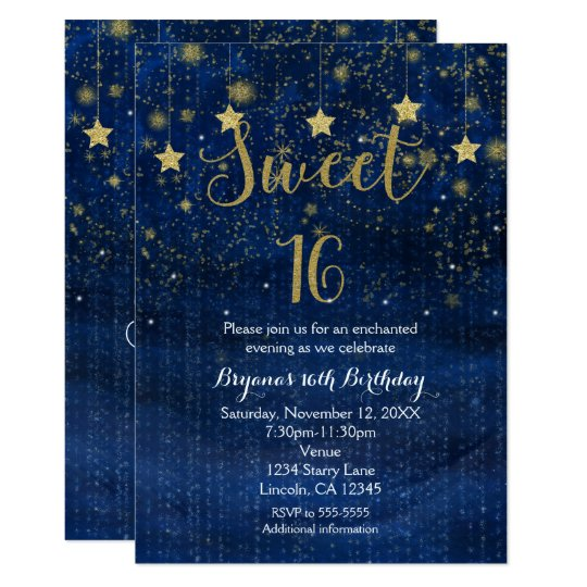 Bright Blue & Gold Stars Sweet 16 Party Invitation