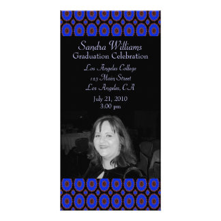 Bright Blue graduation Personalized Photo Card