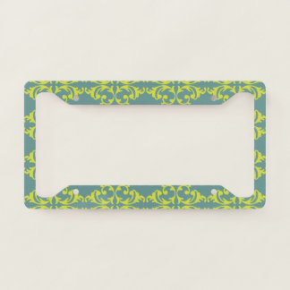 Bright Blue-Green Fleurish License Plate Frame