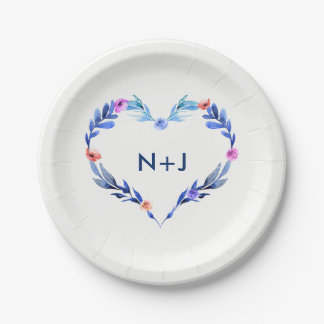 Bright Blue Heart Watercolor Flower Floral Modern Paper Plate