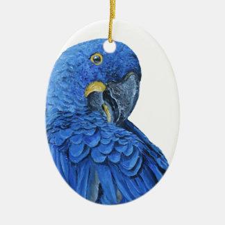 Bright blue Hyacinth Macaw Ceramic Oval Ornament