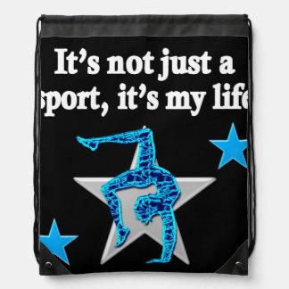 BRIGHT BLUE INSPIRATIONAL GYMNASTICS DESIGN DRAWSTRING BAG