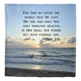 BRIGHT BLUE JOHN 3:16 OCEAN PHOTO DESIGN DUVET COVER