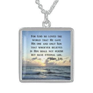 BRIGHT BLUE JOHN 3:16 OCEAN PHOTO DESIGN STERLING SILVER NECKLACE