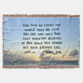 BRIGHT BLUE JOHN 3:16 OCEAN PHOTO DESIGN THROW BLANKET