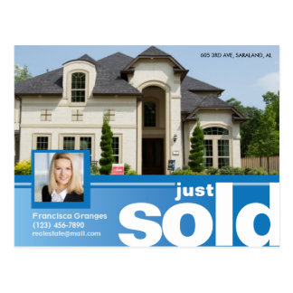 Bright blue Just sold real estate advert template Postcard