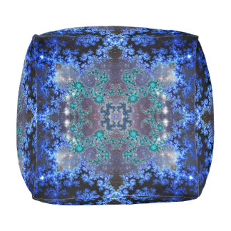 Bright Blue Kaleidoscope Pouf