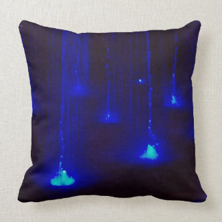 Bright Blue Lights in Water Throw Pillow