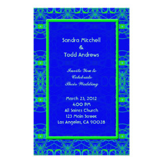 Bright blue Lime Green Pattern Wedding Personalized Stationery