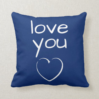 Bright Blue Love You Heart Throw Pillow