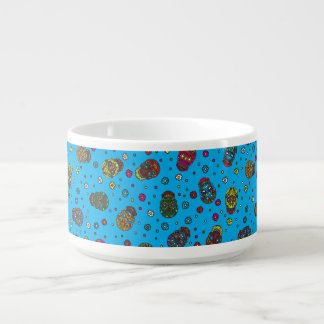 Bright blue mexican floral skull pattern chili bowl