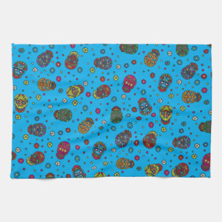 Bright blue mexican floral skull pattern hand towel