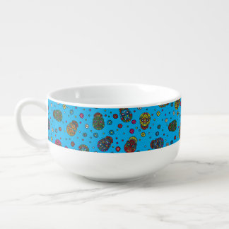 Bright blue mexican floral skull pattern soup mug