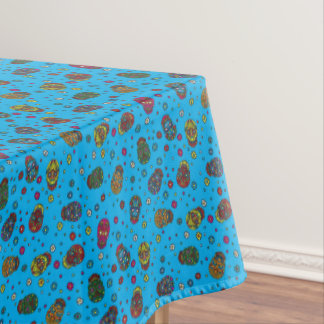 Bright blue mexican floral skull pattern tablecloth