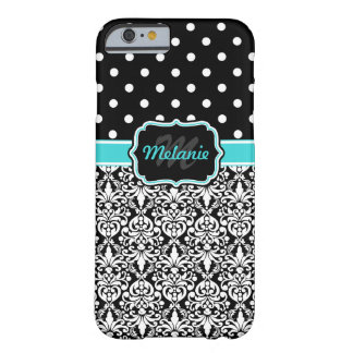 Bright Blue Monogrammed Damask Polka Dots Pattern Barely There iPhone 6 Case