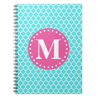 Bright Blue Moroccan Lattice Pink Monogram Notebooks