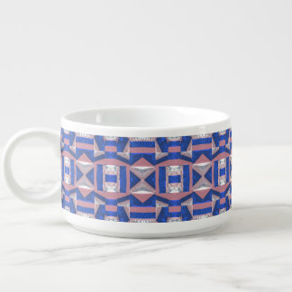 Bright Blue Mosaic Pattern Chili Bowl Mug