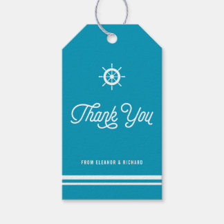 Bright Blue Nautical Thank You Script with Helm Pack Of Gift Tags