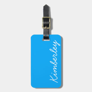 Bright Blue Neon Monogram Trendy Fashion Colors Luggage Tag