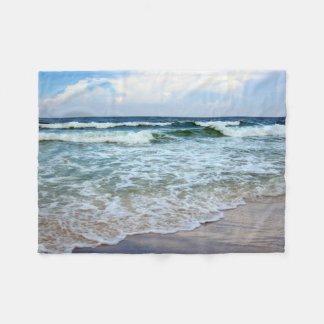 Bright Blue Ocean Waves Fleece Blanket