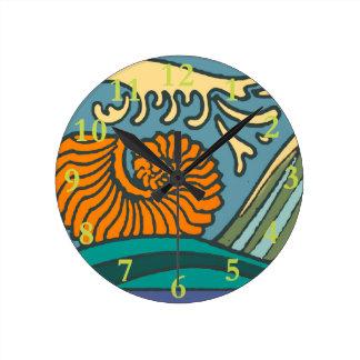 Bright Blue Ocean Waves Round Clock