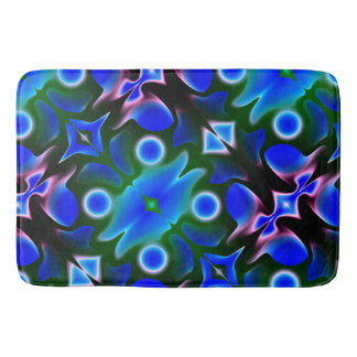 Bright blue on green bath mat