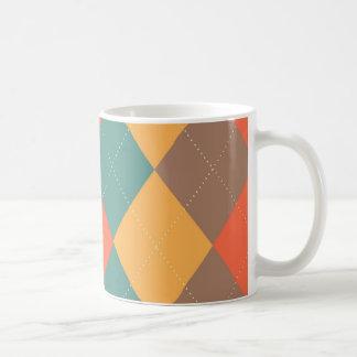 Bright Blue Orange Argyle Mug