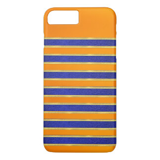 Bright Blue Orange Stripes Design iPhone Case