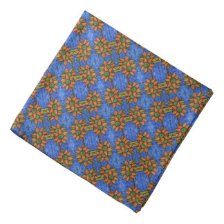 Bright Blue Orange Sunflowers Pattern Bandana