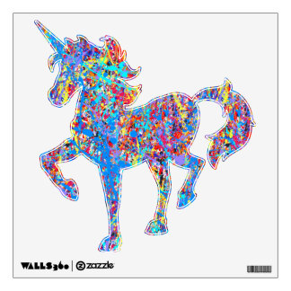 Bright Blue Paint Splatter Abstract Wall Decal