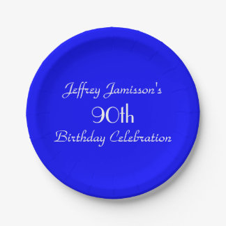Bright Blue Paper Plates, 90th Birthday Party 7 Inch Paper Plate