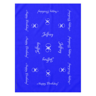 Bright Blue Personalized 90th Birthday Table Cloth Tablecloth