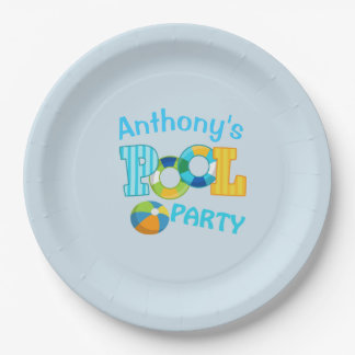 Bright Blue  Personalized Pool Party Paper Plates 9 Inch Paper Plate