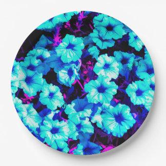 Bright Blue Petunias 9 Inch Paper Plate
