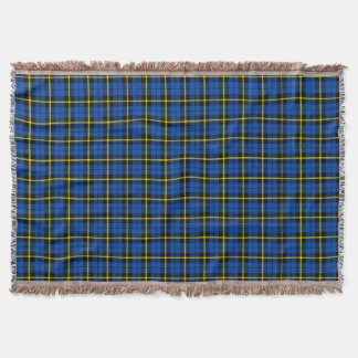 Bright blue plaid print, black yellow stripe throw blanket