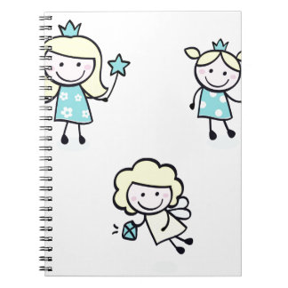 Bright blue princess collection spiral note books