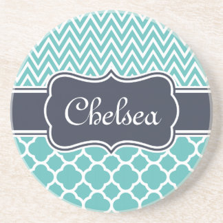 Bright Blue Quatrefoil Chevron Patterns Navy Name Coaster
