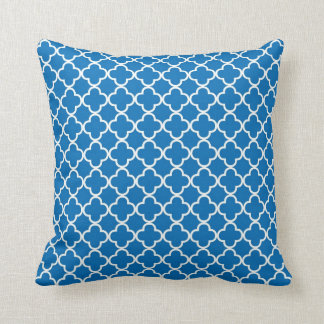 Bright Blue Quatrefoil Clover Pattern Throw Pillow